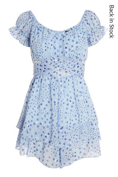 Blue Chiffon Bardot Playsuit